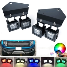 цена на For Ford F150 SVT Raptor Fog Lights Mounting Bracket With 5D 20W RGB Led Work Lights Bluetooth Control for Ford F150 2010- 2014