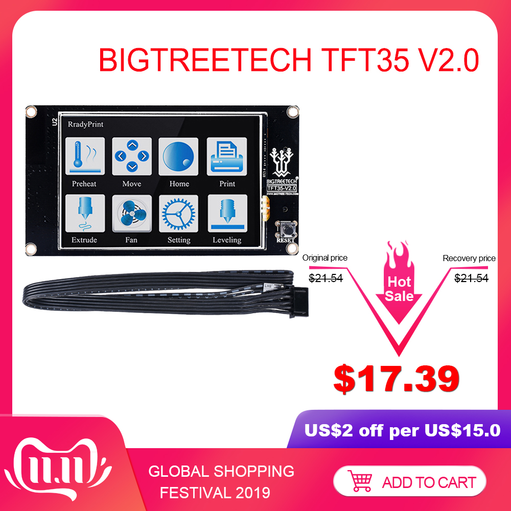 BIGTREETECH TFT35 V2.0 Touch Screen Smart Controller Display 3.5 inch Touch Screen For SKR V1.3 MKS Gen V1.4 3D Printer Parts