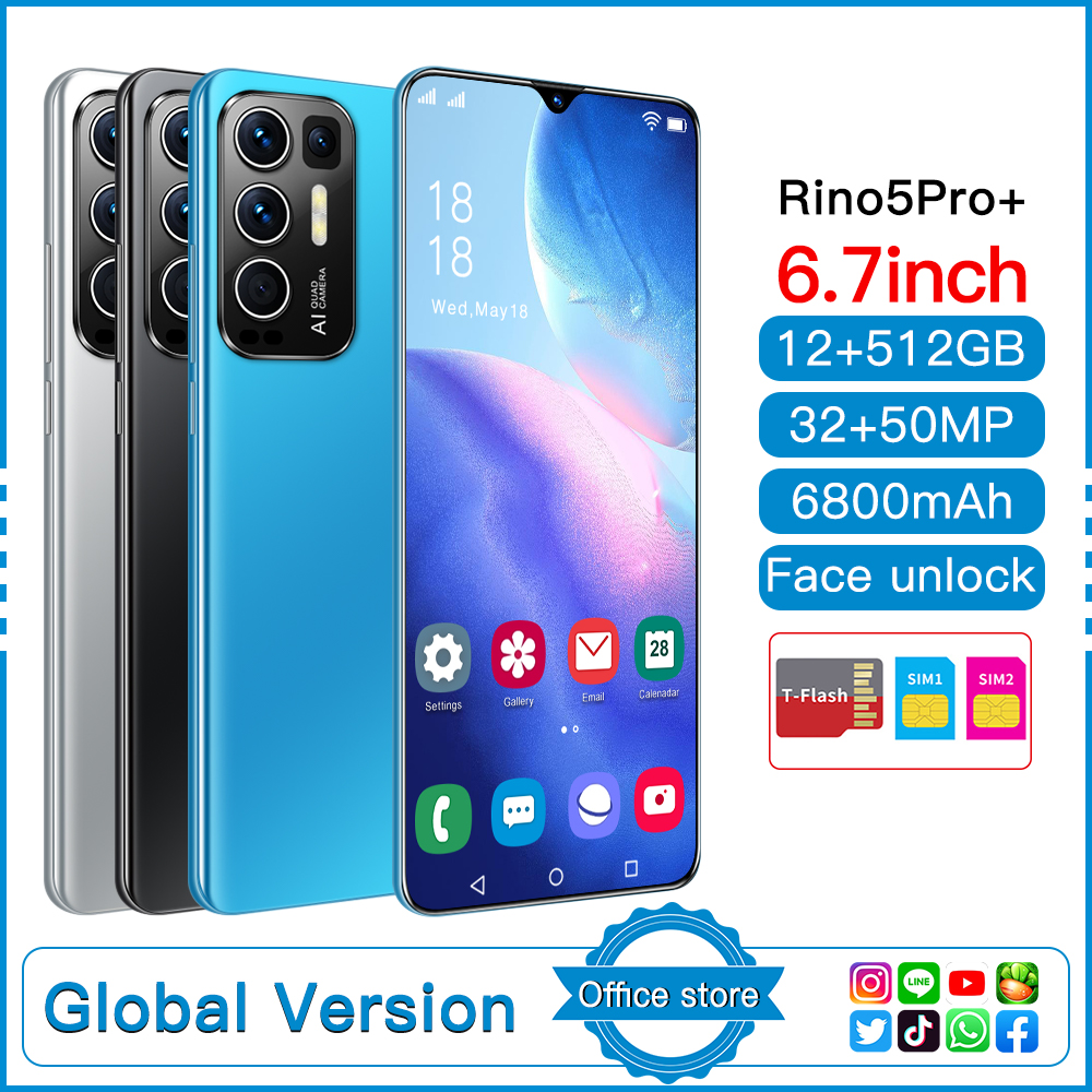 Rino5 Pro Smartphones New 2021 6.0 Inch 12+512GB Face Fingerprint Unlock 32+50MP 10 Core 6800mAh Andriod Cellphone MTK6889
