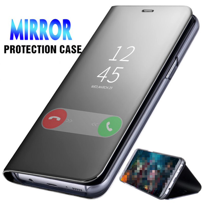 Smart Flip Cover For Samsung Galaxy A21S S20 Plus Ultra A51 A71 A50 A10 Note 8 10 8 9 A70 S8 S9 S10 A7 J4 2018 Mirror Phone Case