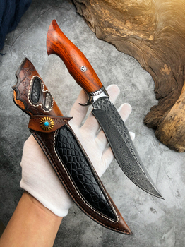 Handmade Hunting Knife Damascus Steel Fixed Blade Knife Leather Sheath Dalbergia Wood Handle Outdoor Survival Camping Tool 5