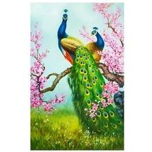 DIY 5D Diamond Embroidery Painting Cross Stitch Kit Flower Animal Home Decor Peacock plum blossom Green цена 2017
