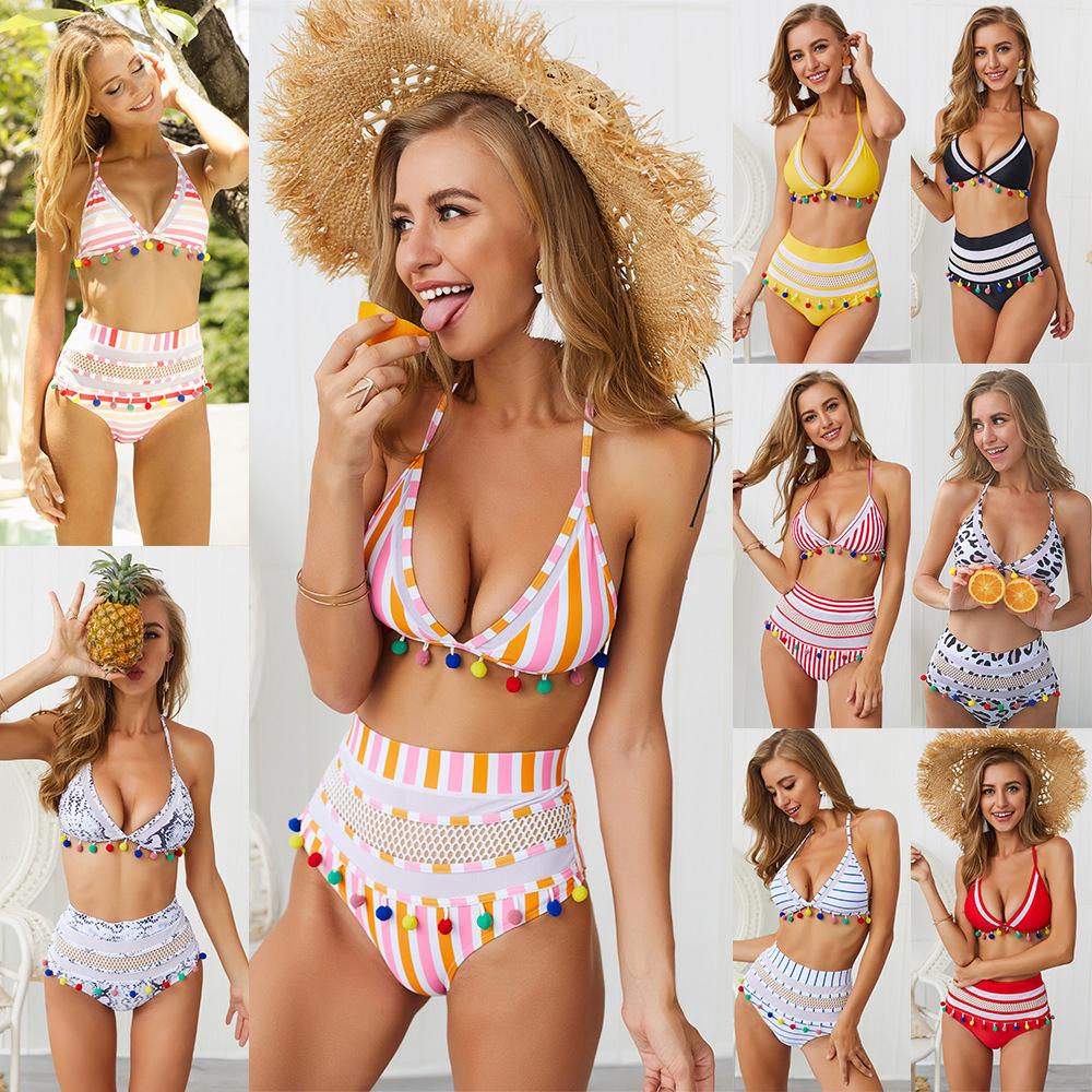 H526ad576f7264ed4810747933a7d9daeO Bikini Rainbow Mesh Fringe Swimwear Women