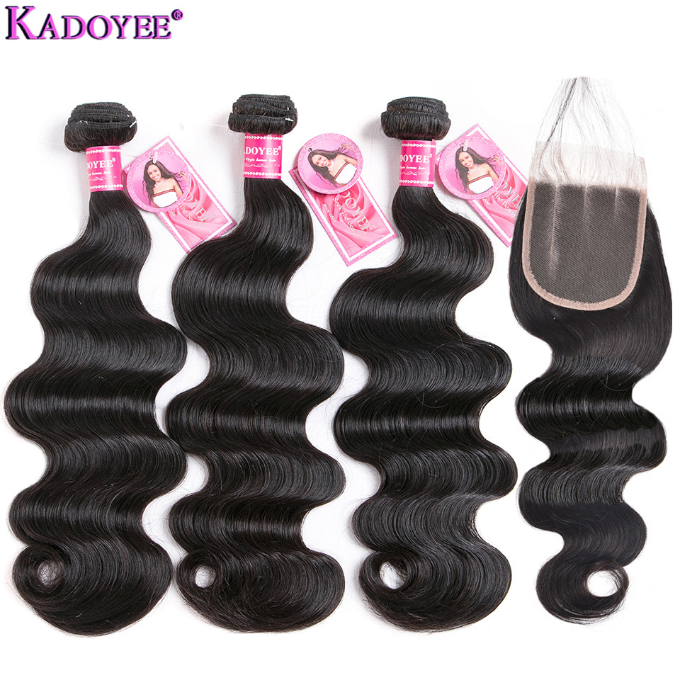 Body Wave Human Hair Bundles With Closure 4 Pcs/lot Brazilian Hair Weave Bundles With Closure Remy Hair Extensions For Women