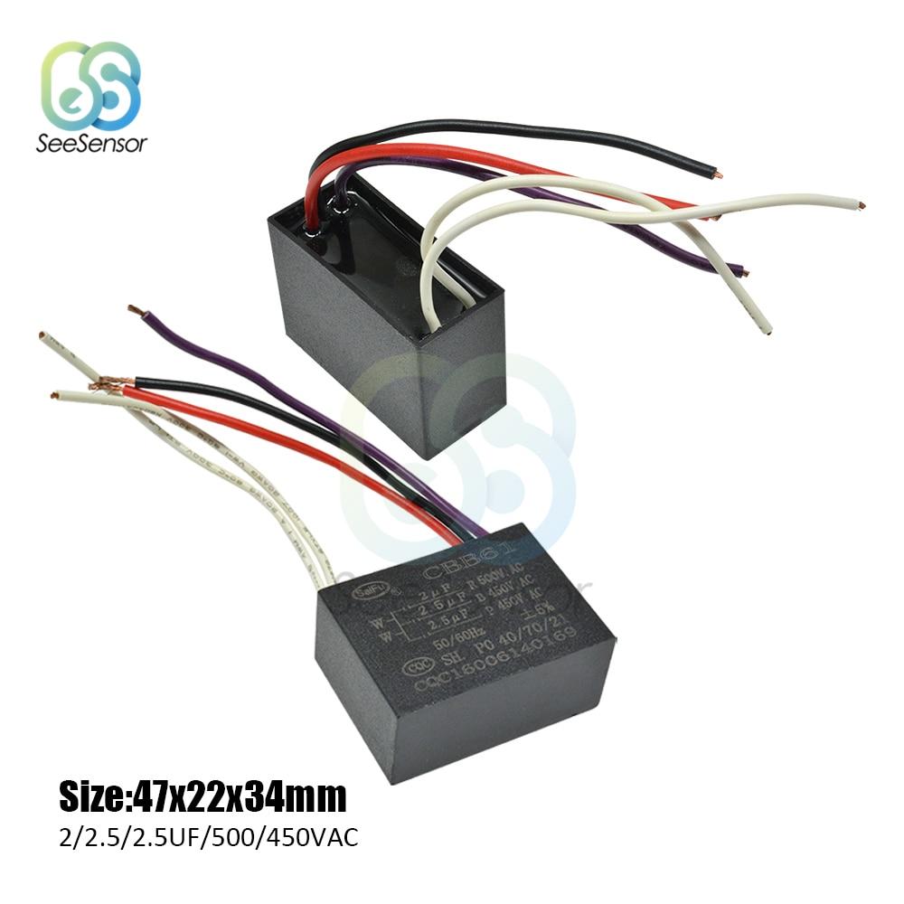 1pcs CBB61 0.5uF 1.2uF 250V 450V AC Ceiling Fan Start Run Capacitor 3 Wires