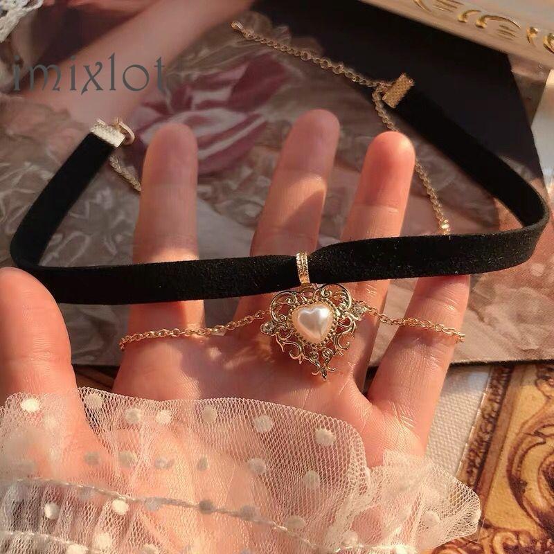 Vintage Kpop Velvet Black Choker Love Heart Pendant Imitation Pearls Short Chain Necklace for Women Girls Gifts Party 2020