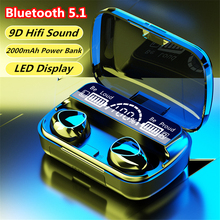Headphones Sports Earbuds Bluetooth-Headset Power-Bank M10 Tws 2000mah 9d Hifi Wireless