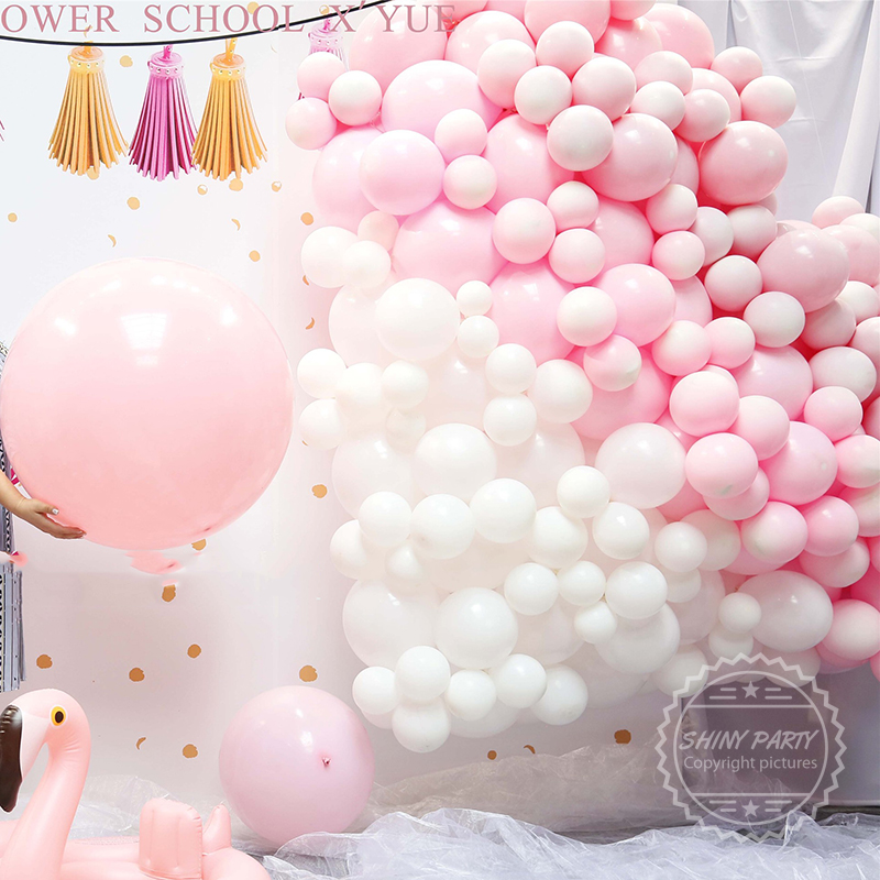Pink White Round Latex Balloons Anniversary Children's Birthday Party Decoration Wedding Site Layout Baby Shower Kids Toy Baloon