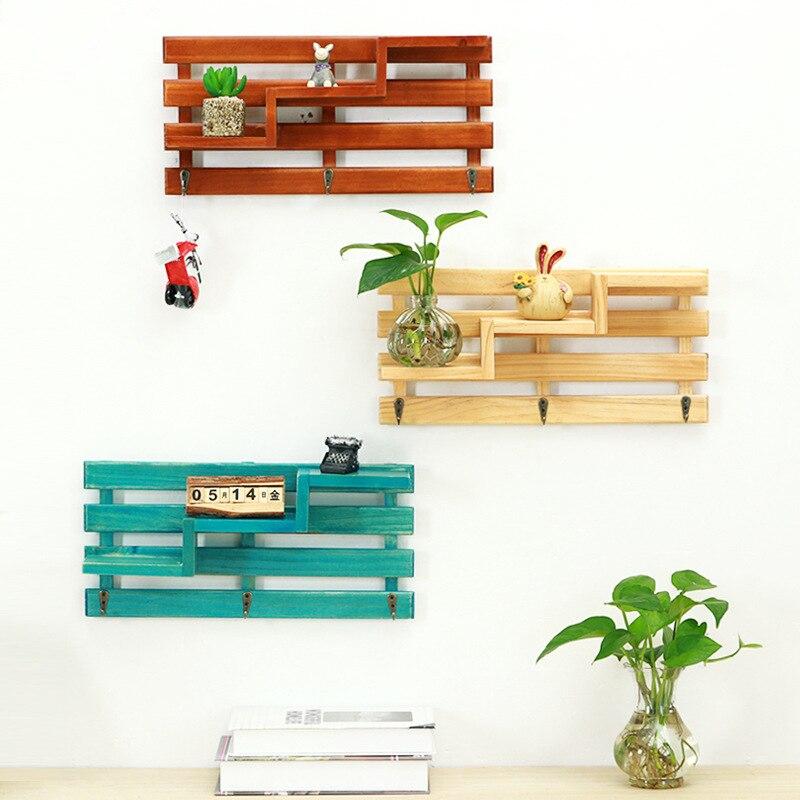 Creative Wooden Storage basket with Hooks Hat Key Rack Hangers Holder Staircase Wall Hook Home Decoration Hang Hooks for Keys