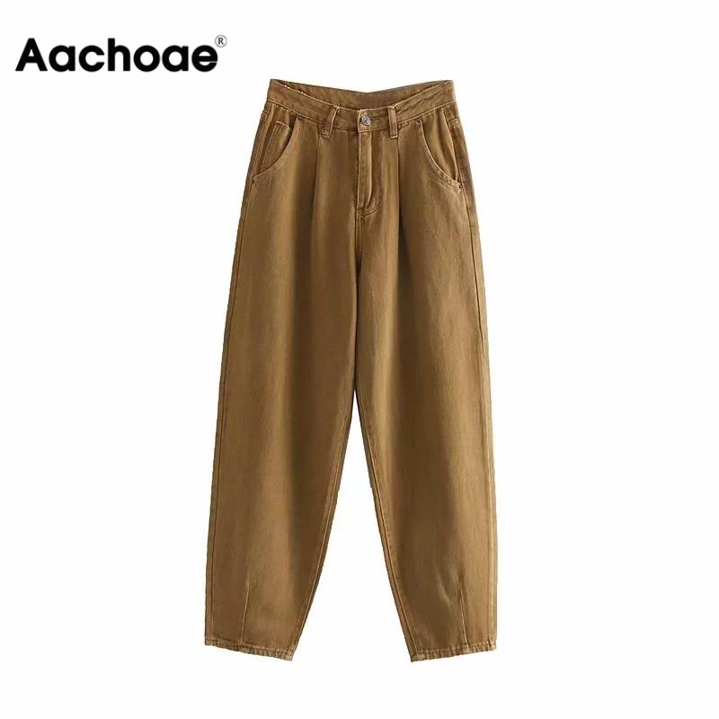 Aachoae Women Slouchy Jeans Harem Pants Boyfriend Jeans Casual Pockets Ladies Zipper Bottoms Loose Denim Long Trousers Mom Jeans