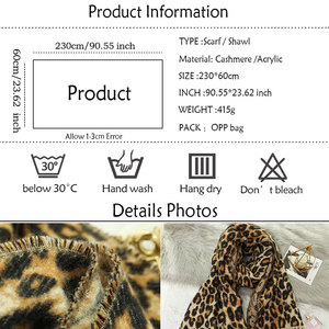 Image 5 - Design winter thick scarf for women blanket tassel lady shawls and wrap animal leopard print cashmere scarves pashmina foulard