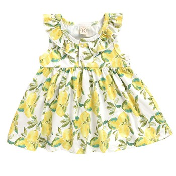 Toddler girl sleeveless printed princess dress fashion sweet flower print summer sleeveless button printed princess dress S4 button front sleeveless dress
