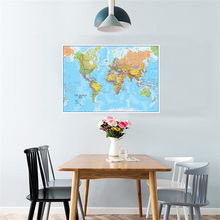 59*42cm The World Political Map Canvas Painting Wall Art Poster Living Room Home Decoration Travel School Supplies for Kid Study