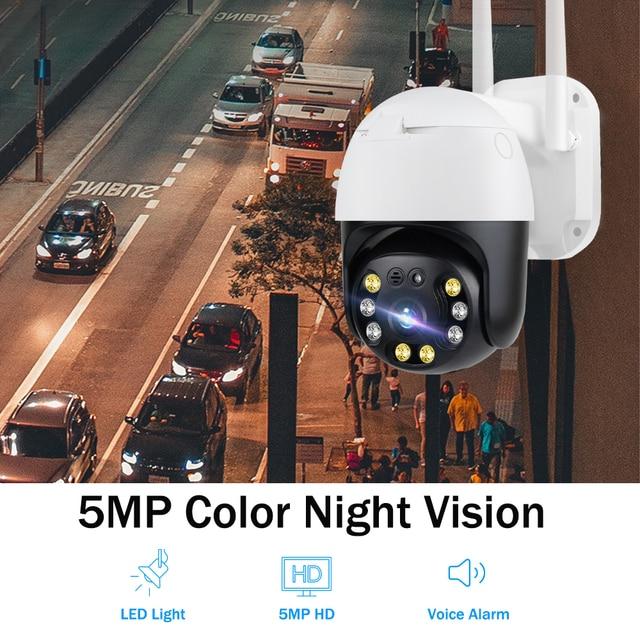 5MP caméra surveillance PTZ Wifi IP caméra extérieure 4X numérique Zoom AI humain détecter H.265 P2P ONVIF Audio sécurité CCTV sans fil camera video surveillance 6
