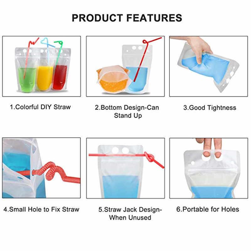 10pcs/set 730ml Clear Plastic Drinking Bag With Sucker Liquid Drinks Bag Pouch for Beverage Liquid Juice Milk Coffee