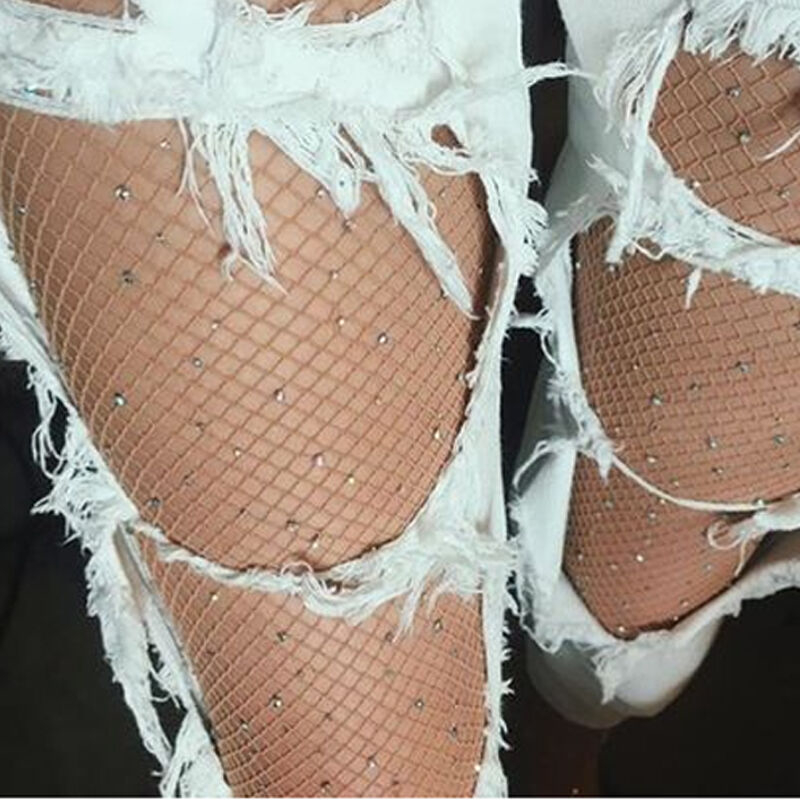 Women Crystal Rhinestone Fishnet Elastic Stockings Shiny Big Fish Net Tights Pantyhose Hottest Sheer Sexy Black Short