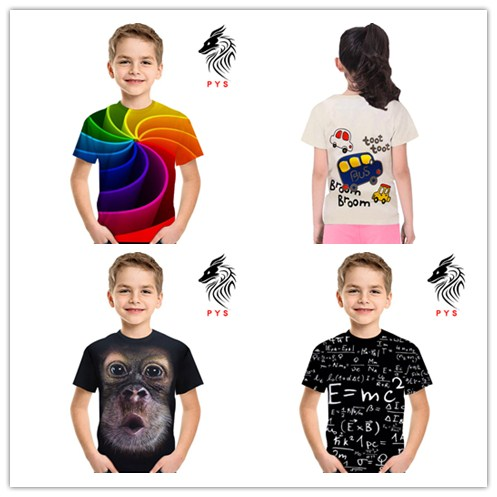 T-Shirt Girls Tops Boys Children's-Wear Rainbow Short-Sleeved Summer New 3d Novelty Digital-Print
