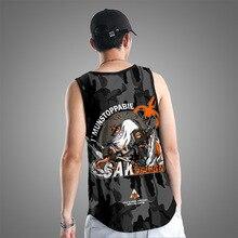 Bodybuilding and Fitness Black Shark Print Clothing Sleeveless Shirts Tank Top Men Stringer Singlets Workout Gym Beach Vest
