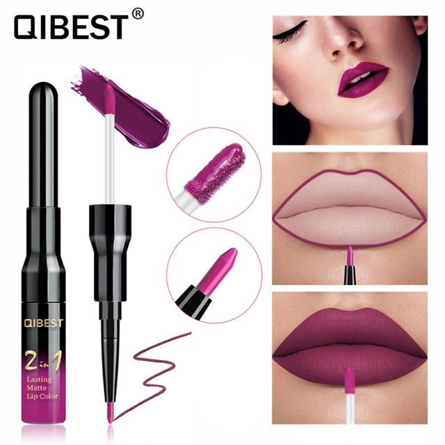 Qibest Double Head Matte Lip Gloss Lip Tint Liner Waterproof Nude Makeup Lipgloss Lasting Matt Purple Red Brown Liquid Lipstick