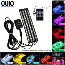 цена на 1 Set Mult-Color 4pcs RGB LED Strip Light Car Styling Decorative Atmosphere Lamps Interior Lamp W/Remote 12V Auto Chassis Lights