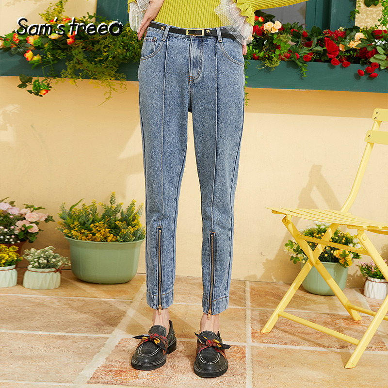 Samstree Blue Solid Zip Detail Casual Straight Jeans Women 2019 Autumn Leisure Denim Pants Streetwear Casual Slim Female Bottoms