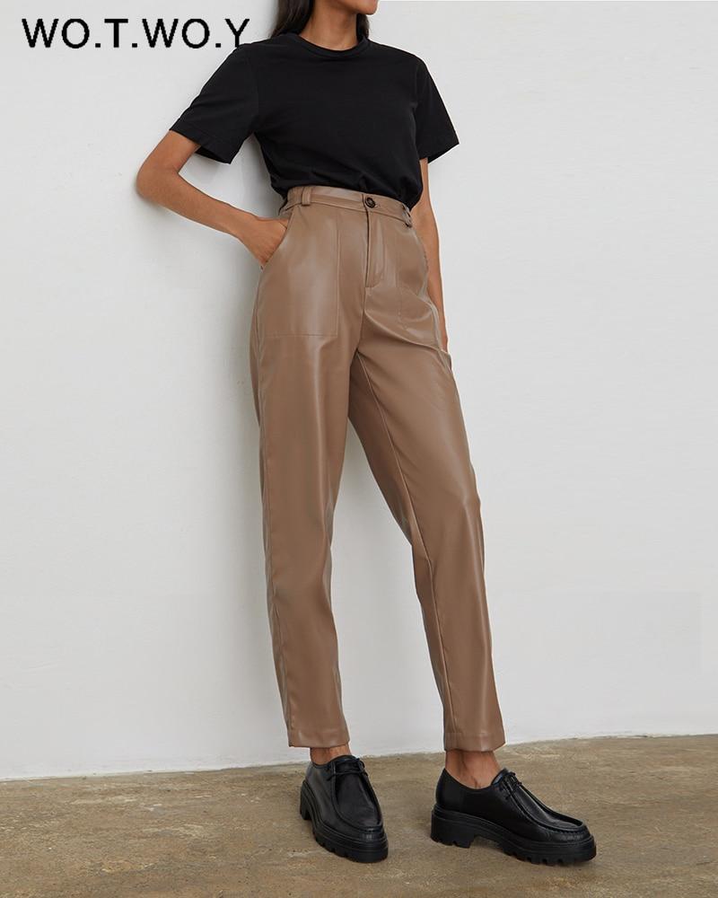 WOTWOY-Pantalones rectos de cuero de cintura alta para mujer, pantalón de piel sintética, con cremallera, informal, para otoño, color blanco y negro