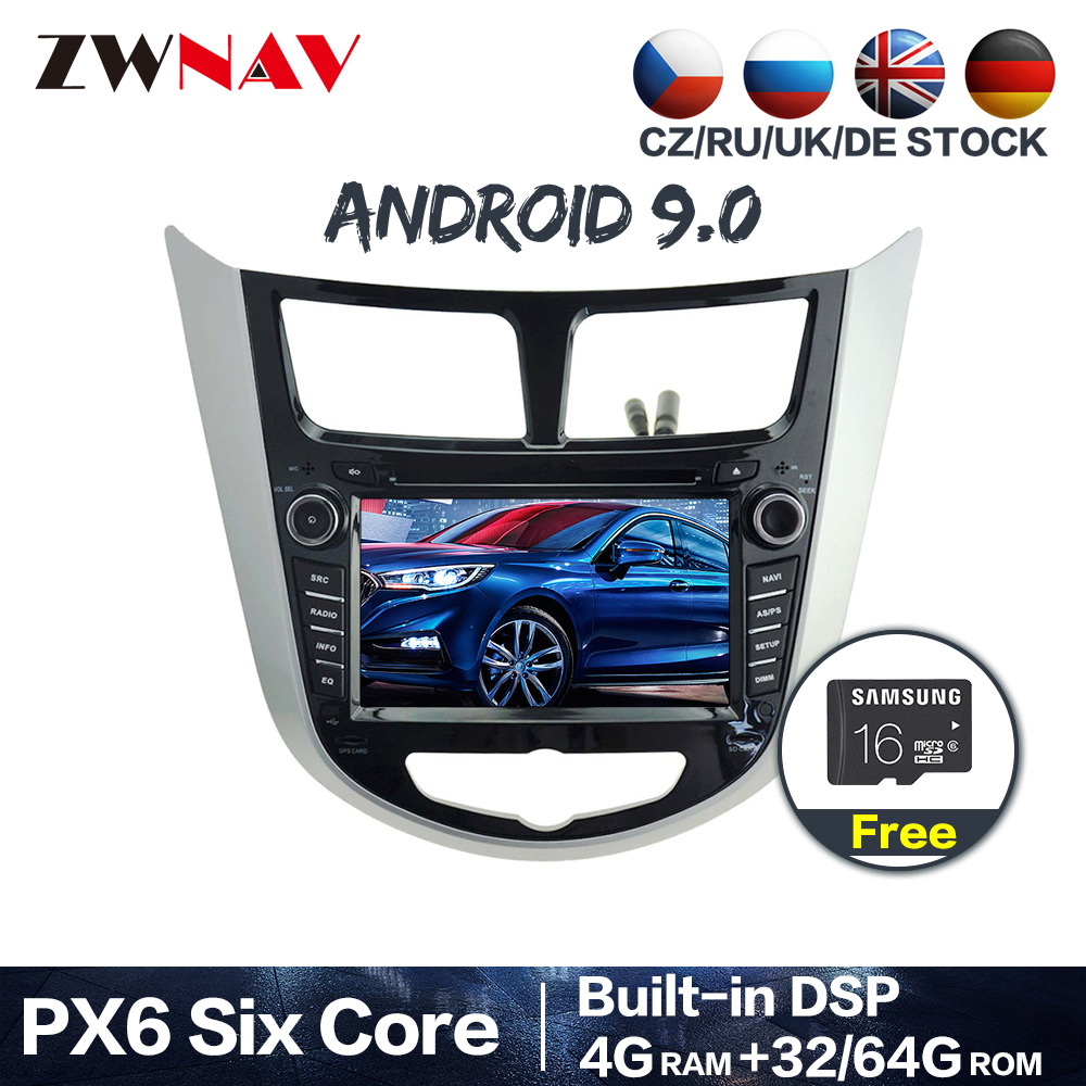 PX6 Android 9.0 Car dvd Radio Multimedia Video Player Navi <font><b>GPS</b></font> For <font><b>Hyundai</b></font> Solaris <font><b>Accent</b></font> Verna 2011-2017 Audio stereo Head Unit image