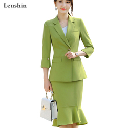 Lenshin 2 Piece Set Mermaid Knee-length Skirt Suit with Two Pockets Office Lady Uniform Designs Women  Jacket and Skirt