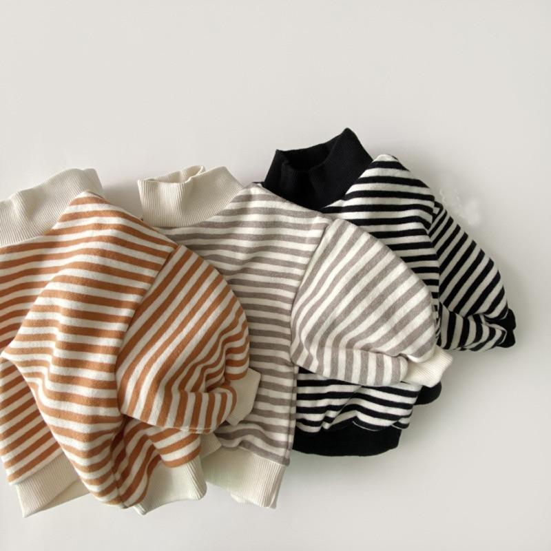 Kids Baby Girls Striped Sweatshirt Tops 2020 Autumn Winter New Thicken Warm High-neck Cotton Striped Hoodie Toddler Boys Tops
