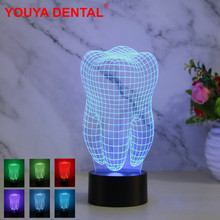 Dentist Decoration Led 3D Lamp Gradient 7Color Tooth Shape USB Night Light Ornament Dentistry Gifts For Dental Clinic Desk Decor