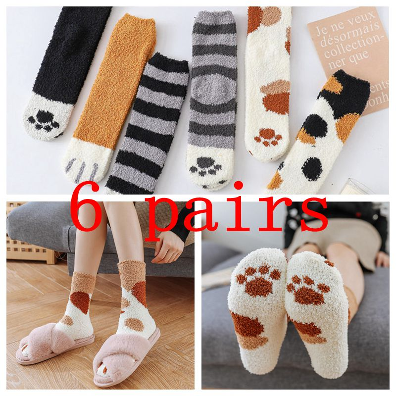 6pcs Women Fashion Lovely Cat Claw Coral Thickening Cotton Middle Stockings Socks Female Erotic Warm Over Knee Socks Women Socks