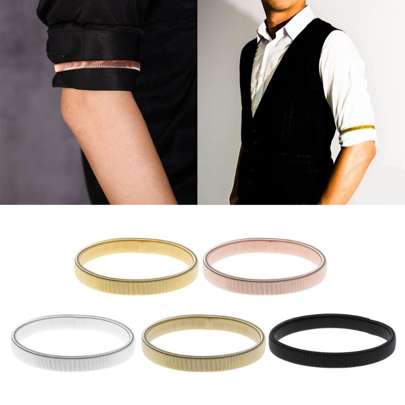 Arm Warmer Shirt Sleeve Holder Metal Anti-Slip Elastic Bracelets Stretch Armband