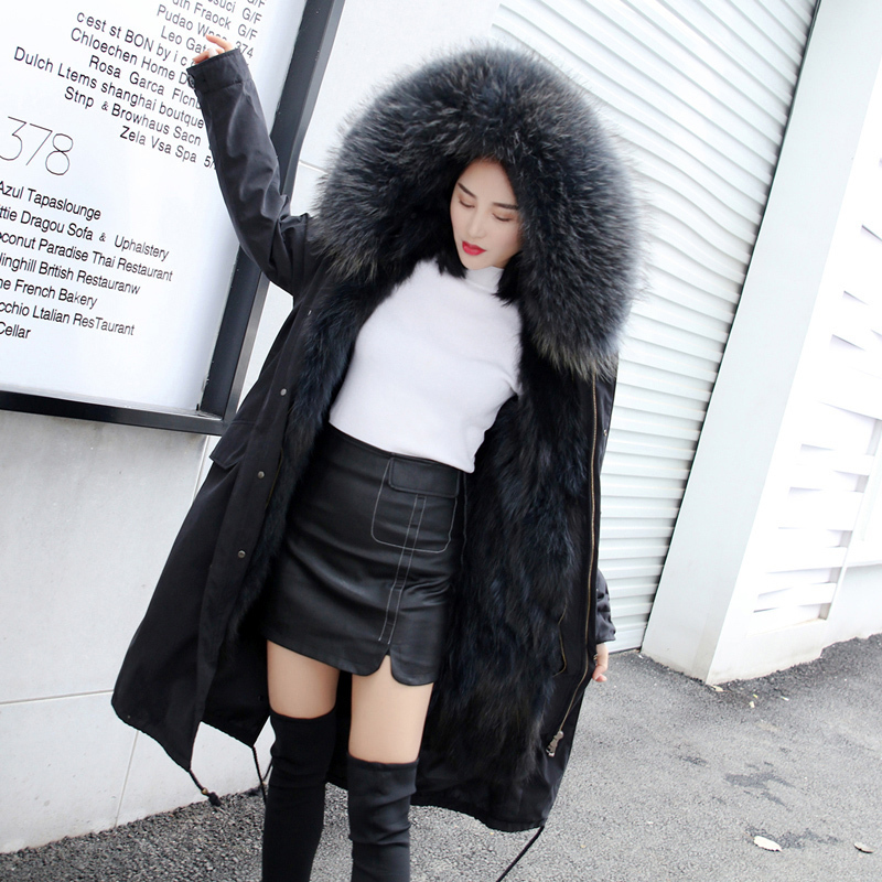100%Natural Fur Coat Winter Quality Raccoon Dog Fur Jacket With Real Fox Fur Collar Warm Thick Outwear HZD9641 MF294