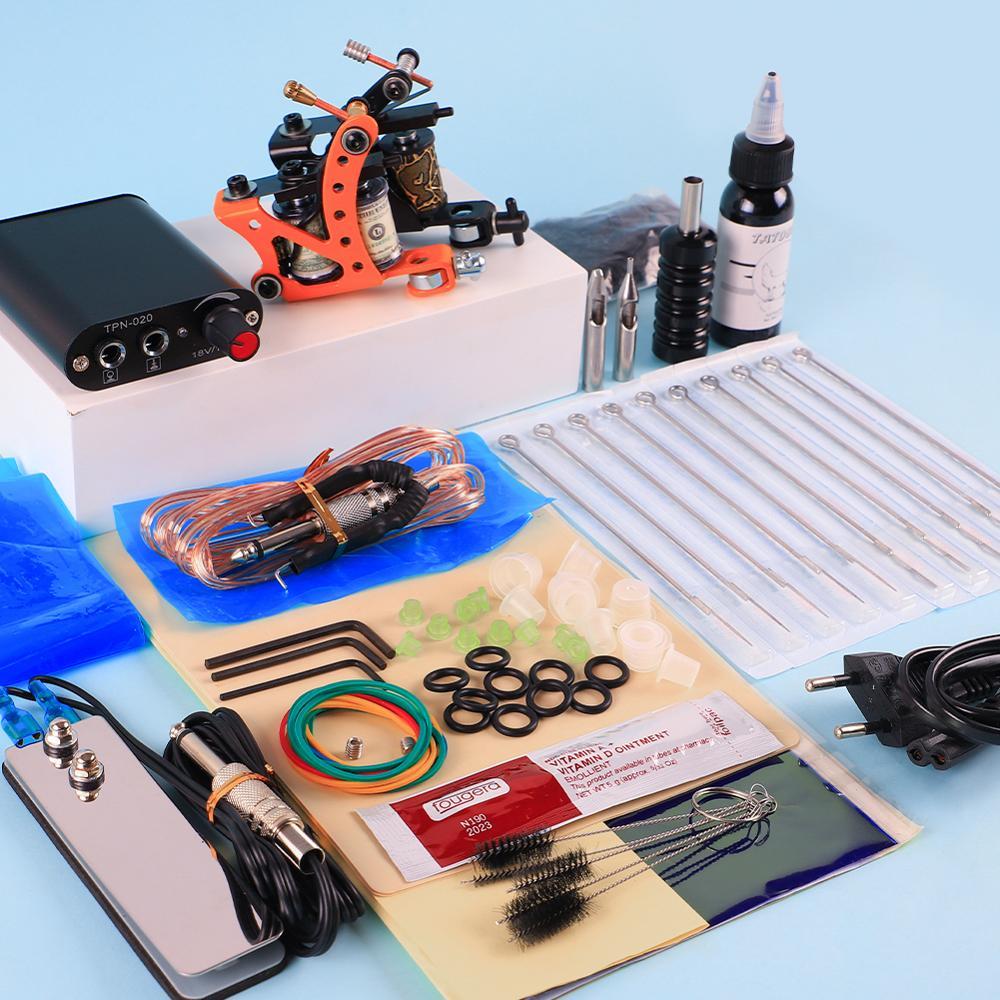 Tattoo Kit 2 Machines Gun 30ml Black Tattoo Ink Set Power Supply Tattoo Grips For Body Art Tools Accessories For Beginner