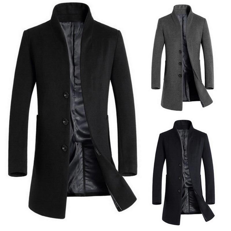 Winter Wool Jackets Coats Men Autumn Winter Solid Streetwears Solid Color Button Stand Collar Outwears Windbreaker Warm Blends