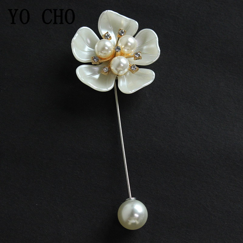YO CHO Beautiful Brooches For Women Men Brooch Flower Pearl Rhinestone Pins Coat Shirt Shawl Clothes Jewelry Wedding Accessories
