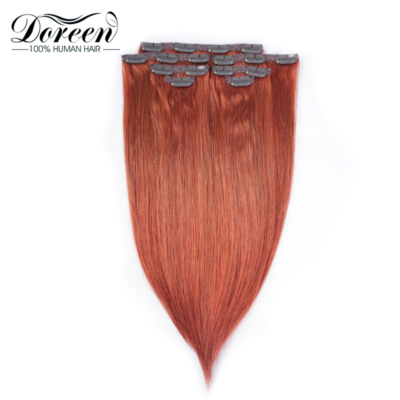 14 To 26 Doreen Hair Full Head Natural Hair Extensions Clip In Human Hair Copper Red Straight Clip On 120 Grams 7 Pieces/set