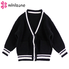 V-Neck Boy Sweater Autumn Long Sleeve Winter Cardigan For Children Baby Girl Clothes Cotton Striped
