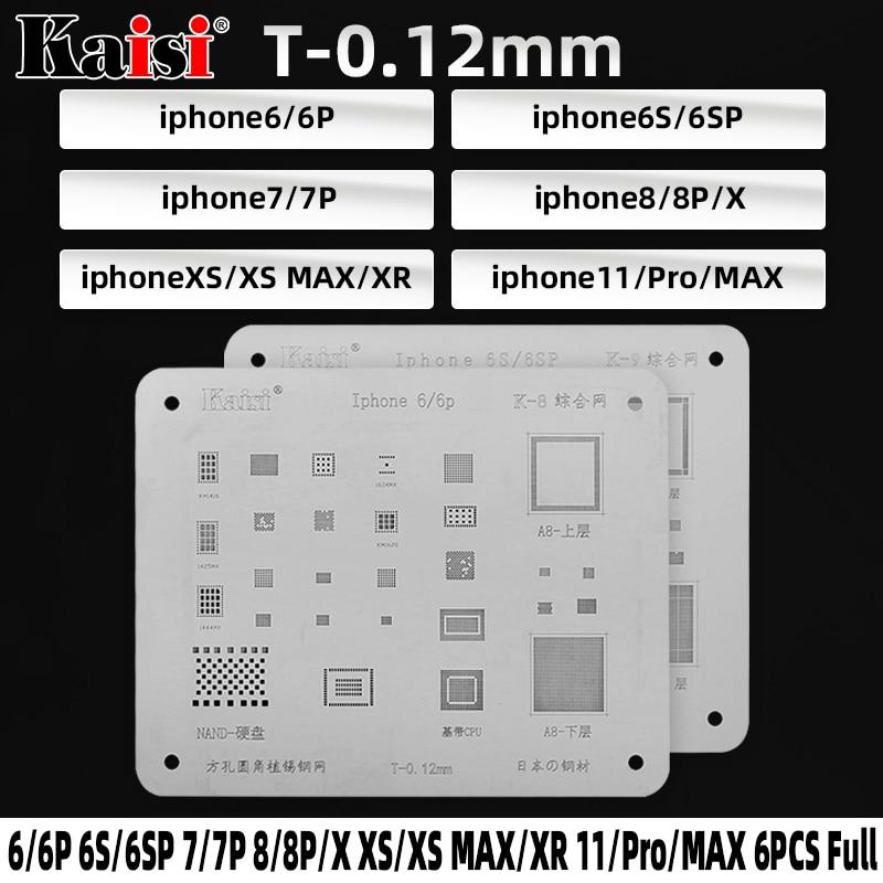 6 Pcs/lot High Quality IC Chip BGA Reballing Stencil Kits Set Solder Template For IPhone 11 Pro Max XS XR X 8 7 6S 6 Plus