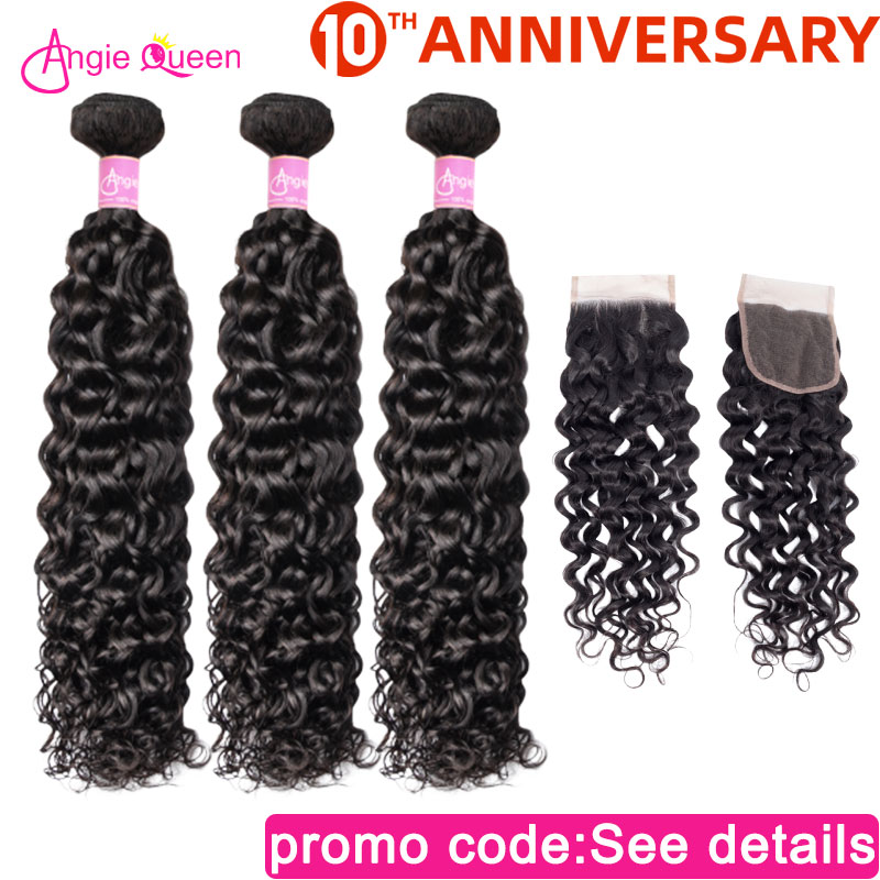 Angie Queen Water Wave Peruvian NonRemy Hair Natural Color Bundles With Closure Lace Closure With 100% Human Hair Bundles 3Pcs L