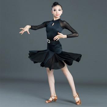 New Latin Dances Dress Cha Cha Samba Practice Dancing Clothing For Girls Kids Rumba Dance Dress Stage Performance Clothes SL2285