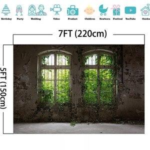 Image 5 - Laeacco 오래 된 집 창 풍경 녹색 나무 포도 나무 빈티지 Grunge 아기 초상화 사진 배경 사진 배경 Photocall