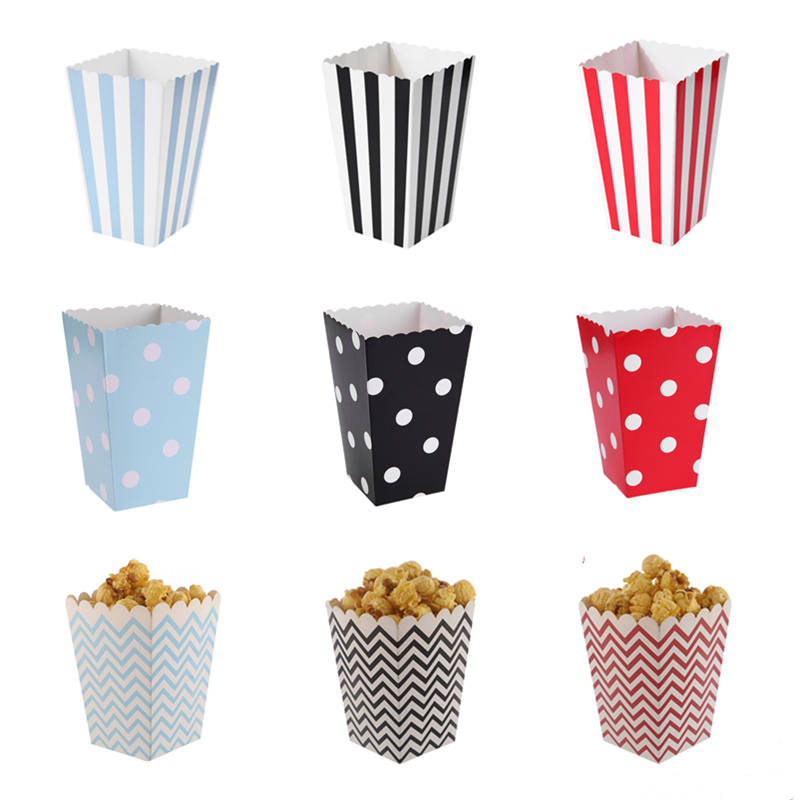6/12pcs Popcorn Boxes Bags Kids Party Gift Boxes Wedding Birthday Decoration Movie Supply Paper Pop Corn Bag Party Supplies Hot