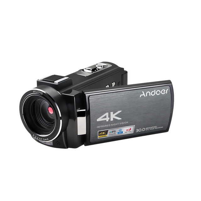 Andoer 4K WiFi DV Recorder Digital Video Camera Camcorder 30MP 16X Digital Zoom with Batteries Wide Angle Lens Microphone 4