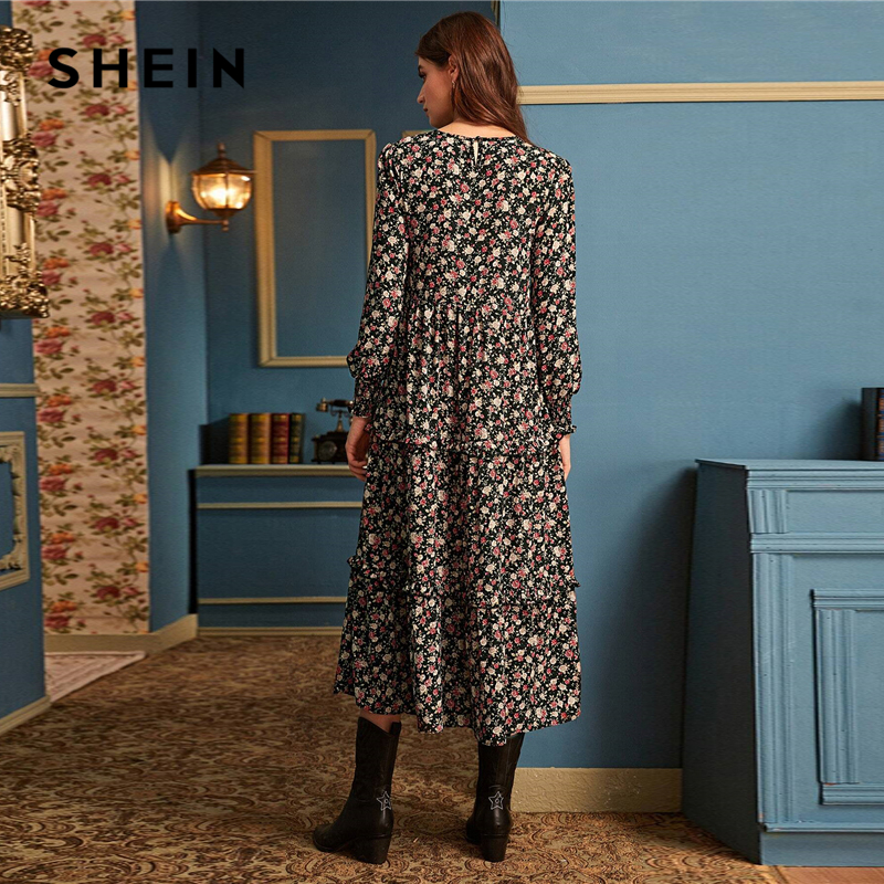 Image 2 - SHEIN Ditsy Floral Print Frill Trim Flared Dress Without Belt 