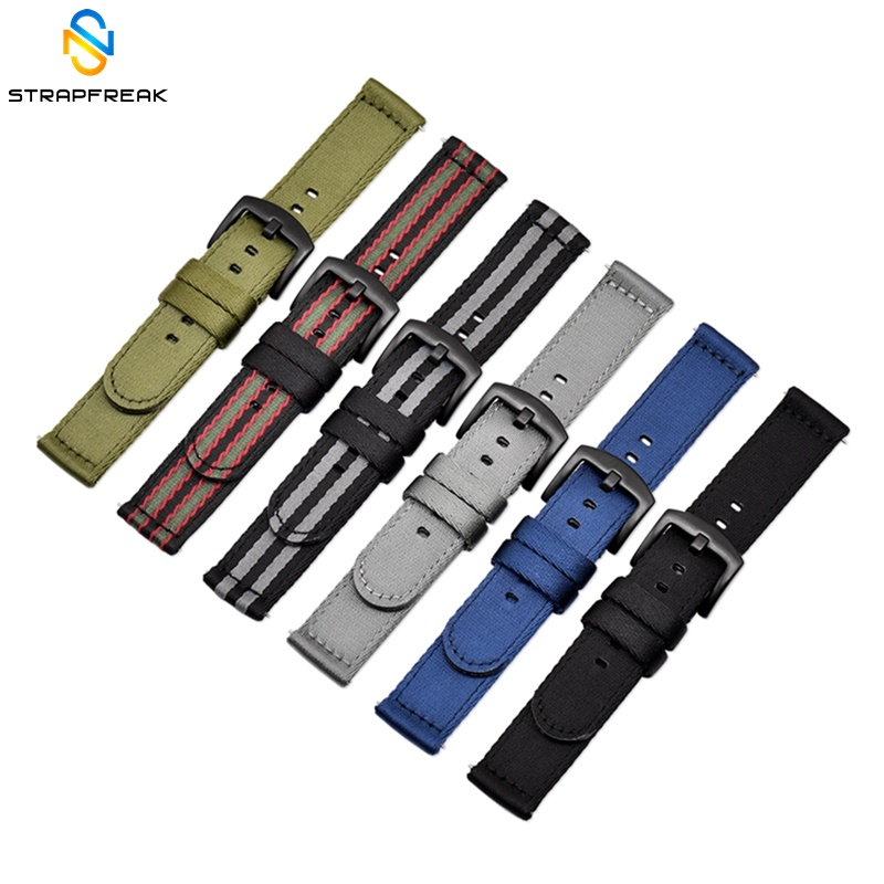 Nylon Strap NATO Quick Release Sport Canva Watchband 18mm 20mm 22mm 24mm Watch Replacement Bracelet For Samsung Huawei Watch