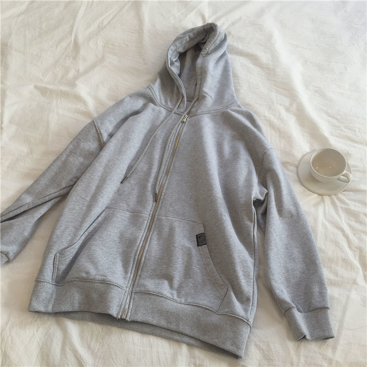 H526dbec9eeec4a3587a48c92a7fa836fN Harajuku with hat hoodies women zipper kangaroo pocket casual loose solid color sweatshirt female 2020 fashion new female s