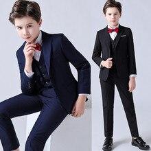Suit Pants Costume Vest Dress Kids Blazer Flower Boy Wedding Formal Children's Autumn