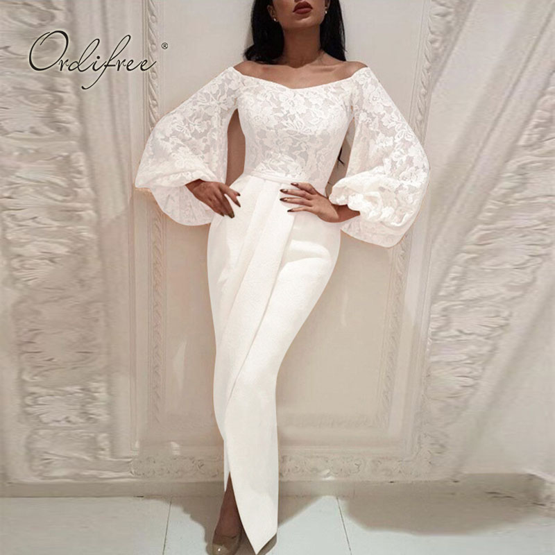 Ordifree 2020 Summer Women Long Party Dress Long Sleeve Off Shoulder White Lace Sexy Bodycon Maxi Dress