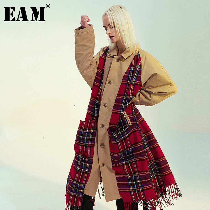 [EAM] Women Plaid Tasses Both Side Wear Big Size Trench New Lapel Long Sleeve Loose Fit Windbreaker Fashion Spring 2020 1M976